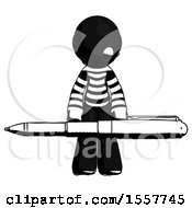 Ink Thief Man Weightlifting A Giant Pen