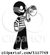Ink Thief Man Shouting Into Megaphone Bullhorn Facing Right by Leo Blanchette