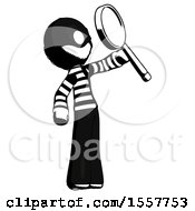 Ink Thief Man Inspecting With Large Magnifying Glass Facing Up
