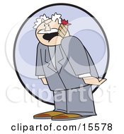 Grumpy Old Man The Boss Smoking A Cigar And Screaming At His Innocent Employees Clipart Illustration