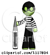 Green Thief Man Standing With Large Thermometer
