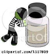 Green Thief Man Pushing Large Medicine Bottle