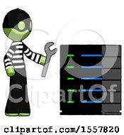 Green Thief Man Server Administrator Doing Repairs