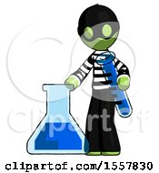 Green Thief Man Holding Test Tube Beside Beaker Or Flask