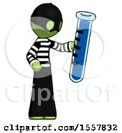 Green Thief Man Holding Large Test Tube