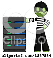 Green Thief Man With Server Rack Leaning Confidently Against It