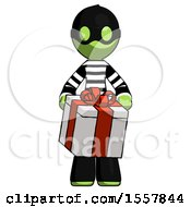 Green Thief Man Gifting Present With Large Bow Front View