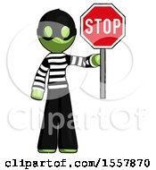 Green Thief Man Holding Stop Sign