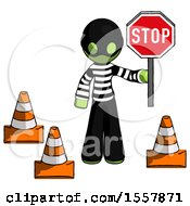 Green Thief Man Holding Stop Sign By Traffic Cones Under Construction Concept