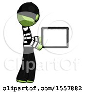 Green Thief Man Show Tablet Device Computer To Viewer Blank Area