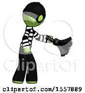 Green Thief Man Dusting With Feather Duster Downwards
