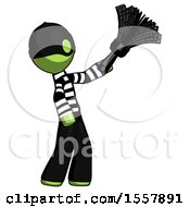 Green Thief Man Dusting With Feather Duster Upwards