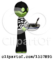Green Thief Man Holding Noodles Offering To Viewer