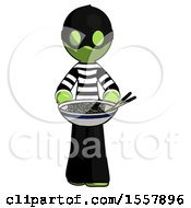 Green Thief Man Serving Or Presenting Noodles