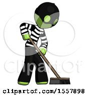 Green Thief Man Cleaning Services Janitor Sweeping Side View