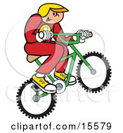 Boy In Uniform And A Helmet Riding A Bmx Bike And Catching Air