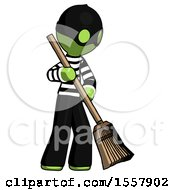 Green Thief Man Sweeping Area With Broom