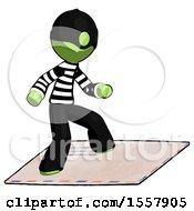 Green Thief Man On Postage Envelope Surfing