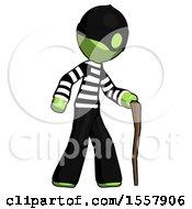 Green Thief Man Walking With Hiking Stick