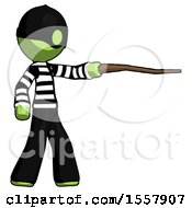 Green Thief Man Pointing With Hiking Stick