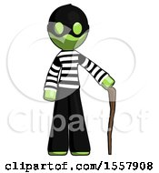Green Thief Man Standing With Hiking Stick