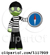 Green Thief Man Holding A Large Compass