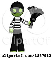 Green Thief Man Holding Feather Duster Facing Forward
