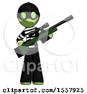 Green Thief Man Holding Sniper Rifle Gun