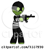 Green Thief Man Shooting Automatic Assault Weapon
