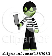 Green Thief Man Holding Meat Cleaver