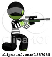 Green Thief Man Kneeling Shooting Sniper Rifle