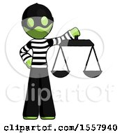 Green Thief Man Holding Scales Of Justice