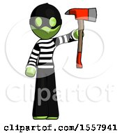 Green Thief Man Holding Up Red Firefighters Ax