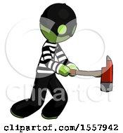 Green Thief Man With Ax Hitting Striking Or Chopping