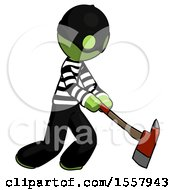 Green Thief Man Striking With A Red Firefighters Ax