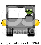 Green Thief Man Driving Amphibious Tracked Vehicle Front View