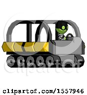 Green Thief Man Driving Amphibious Tracked Vehicle Side Angle View
