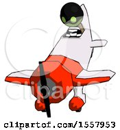 Green Thief Man In Geebee Stunt Plane Descending Front Angle View