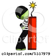 Green Thief Man Leaning Against Dynimate Large Stick Ready To Blow