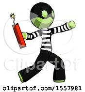 Green Thief Man Throwing Dynamite