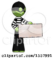 Green Thief Man Presenting Large Envelope