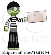 Green Thief Man Holding Large Envelope