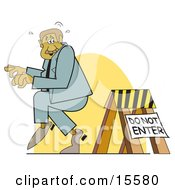 Sneaky Man Entering A Blocked Off Area Clipart Illustration