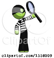 Green Thief Man Inspecting With Large Magnifying Glass Facing Up