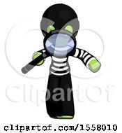 Green Thief Man Looking Down Through Magnifying Glass
