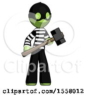 Green Thief Man With Sledgehammer Standing Ready To Work Or Defend