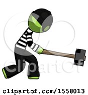 Green Thief Man Hitting With Sledgehammer Or Smashing Something