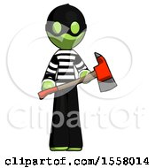Green Thief Man Holding Red Fire Fighters Ax