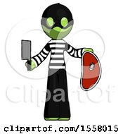 Green Thief Man Holding Large Steak With Butcher Knife