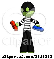 Green Thief Man Red Pill Or Blue Pill Concept